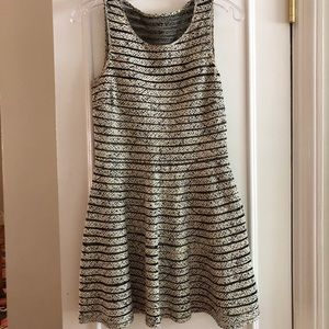Black & White Mesh Striped Silk Parker Dress
